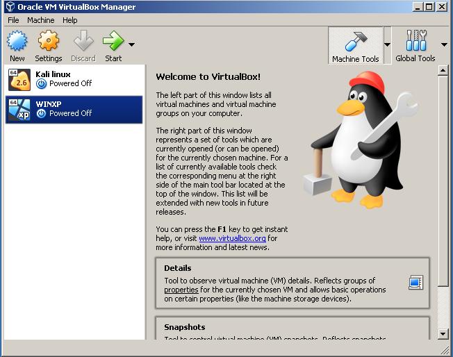 screenshot 1 Oracle VM VirtualBox