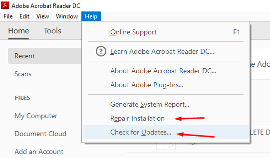 Repair Adobe PDF Reader