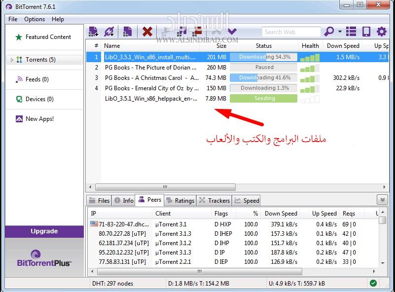 BitTorrent واجهة برنامج