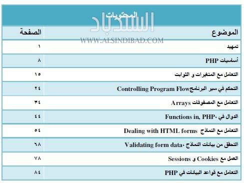 محتوبات كتاب تطوير مواقع انترنت باستخدام PHP